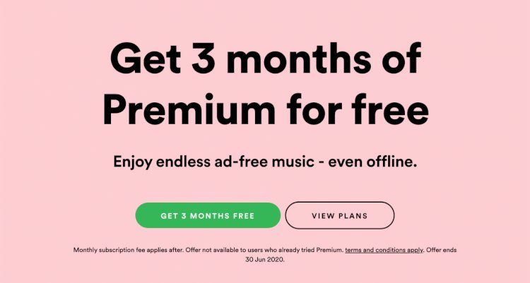 Spotify Premium gives 3 month trial for free