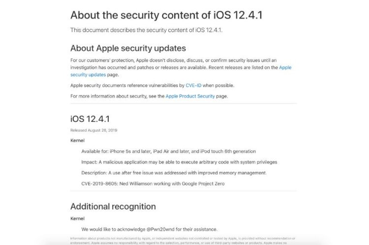 Apple iOS 12.4.1 Fixes Bug That Allowed iPhone Jailbreak, And You Must Update