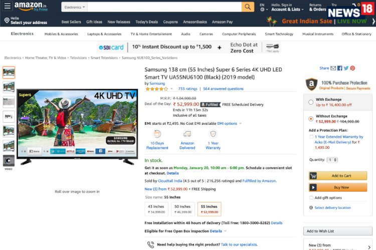 Amazon Great Indian Sale: Buy This Samsung 55-inch 4K TV For as Low As Rs 29500