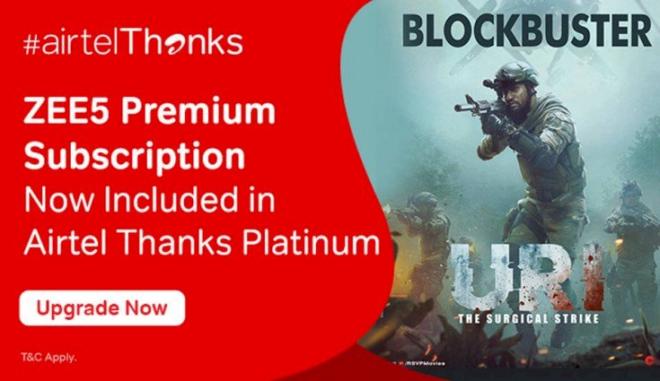 Airtel offers Zee5 premium subscription for free. How to activate